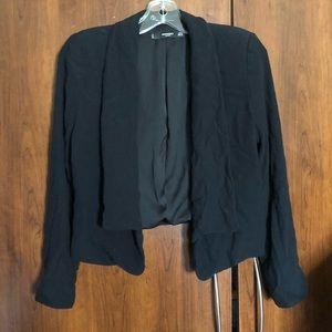 Black Open Crepe Blazer From Mango XS